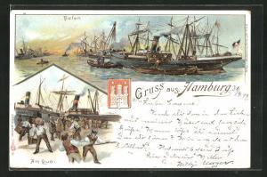Lithographie Hamburg, Hafen mit Segelschiffen und Quai-Ansicht