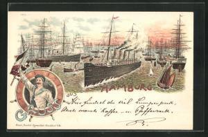 Lithographie Hamburg, Hafenansicht mit Dampfer und Segelschiffen