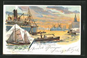 Lithographie Hamburg, Hafenansicht mit Dampfer und Segelboot, Blick vom Strandhöft