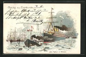Lithographie Hamburg, der Hafen im Winter