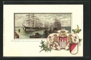Passepartout-AK Hamburg, Hafenansicht mit Segelschiffen, Stadtwappen