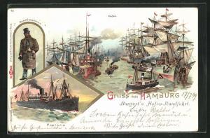 Lithographie Hamburg, Hafen mit Dampfer Pretoria, Segelschiffen und Quartiersmann