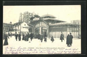 AK Paris, Une Gare du Metropolitain, Eingang zur U-Bahn