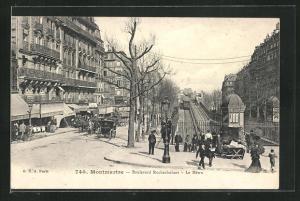 AK Montmartre, Boulevard Rochechouart, Le Metro, U-Bahn