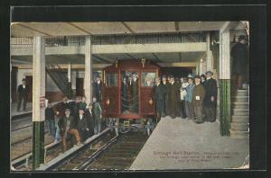Künstler-AK New York, Borough Hall Station, first Train, U-Bahn