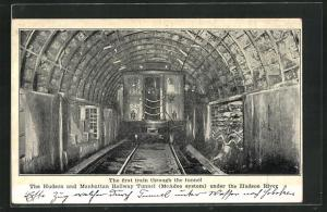 AK New York, the first Train through the tunnel