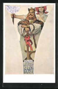 Künstler-AK Alphonse Mucha: Frau steht hinter Mann mit Krone und Schwert, Independence