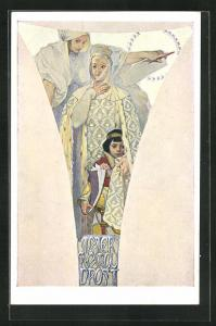 Künstler-AK Alphonse Mucha: Frau in geschmeidigem Gewand hält Hand auf Knaben, Motherly wisdom