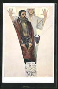 Künstler-AK Alphonse Mucha: Frau mit abwehrenden Händen hinter Mann, Force to create