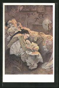 Künstler-AK Alphonse Mucha: Frau schläft mit Baby vor Bett mit Karten auf totem Mann