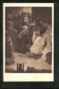 Künstler-AK Alphonse Mucha: Frau auf Thron mit Krone und Frauen in betender Haltung