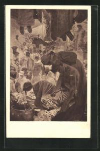 Künstler-AK Alphonse Mucha: Frau beugt sich über Mann, Menschen hängen von der Decke