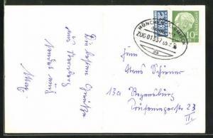 AK Bahnpoststempel der Strecke München-Garmisch, Zug 01357
