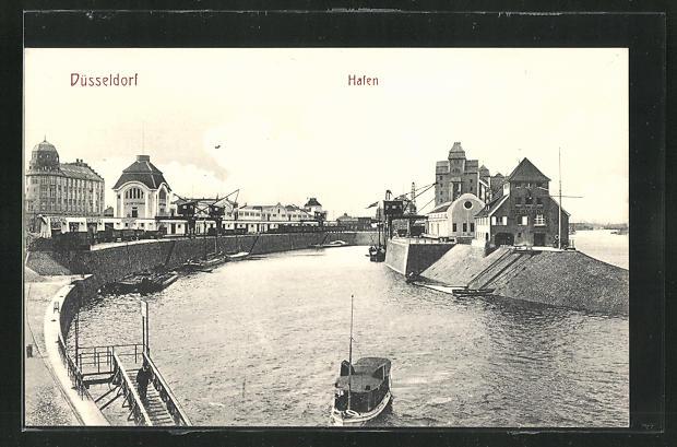 AK Düsseldorf, Hafen mit Speicher und Lastenkrähne 0