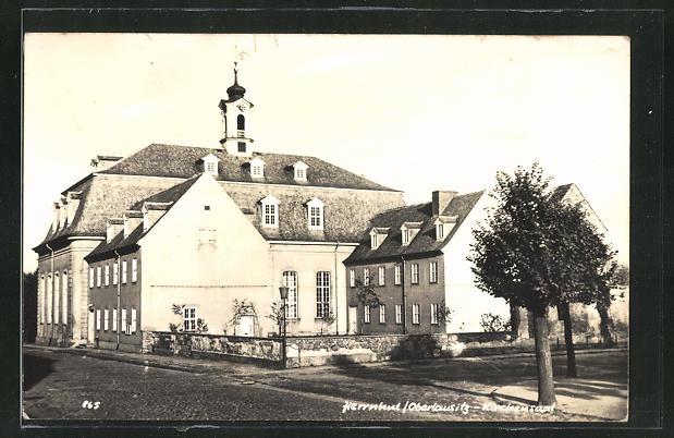AK Herrnhut / Oberlausitz, Kirchensaal, Eckfassade 0
