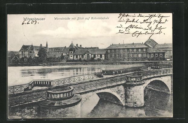 AK Witzenhausen, Werrabrücke mit Blick auf Kolonialschule 0