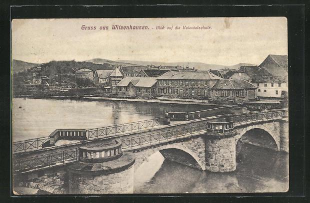 AK Witzenhausen, Blick auf die Kolonialschule, Brücke und Häuser 0