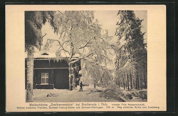 AK Brotterode i. Thür., Restaurant Waldschänke Dreiherrenstein im Winter 0
