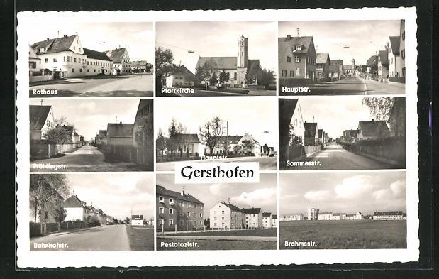 AK Gersthofen, Blick auf Rathaus, Bahnhofstrasse, Hauptstrasse, Pestalozzistrasse, Frühlingstrasse und Pfarrkirche 0