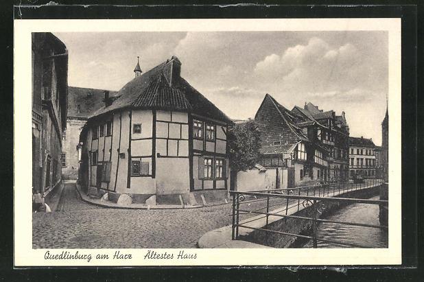 AK Quedlinburg a. H., Strassenpartie, Ältestes Haus 0