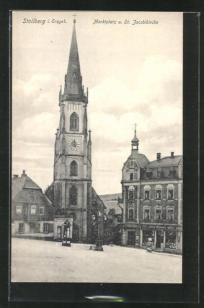 AK Stollberg i. Erzgeb., Marktplatz und St. Jacobikirche 0