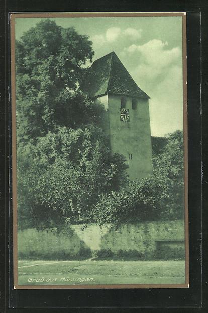 AK Hörsingen, Ortsansicht mit Uhrturm 0