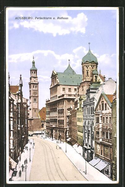 AK Augsburg, Perlachturm und Rathaus 0