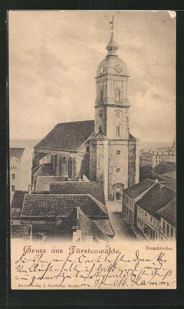 AK Fürstenwalde, Blick zur Domkirche 0