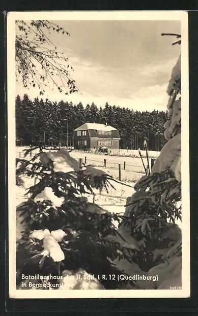 AK Benneckenstein, Bataillonshaus des II. Batl. I. R. 12 Quedlinburg, Winterblick 0