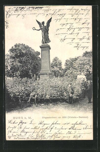 AK Burg, Siegesdenkmal von 1866, Victoria-Denkmal 0