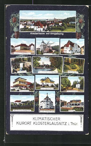 AK Klosterlausnitz / Thür., Gasthof Friedrichshof, Sanatorium, Weinschenke, Rathaus 0