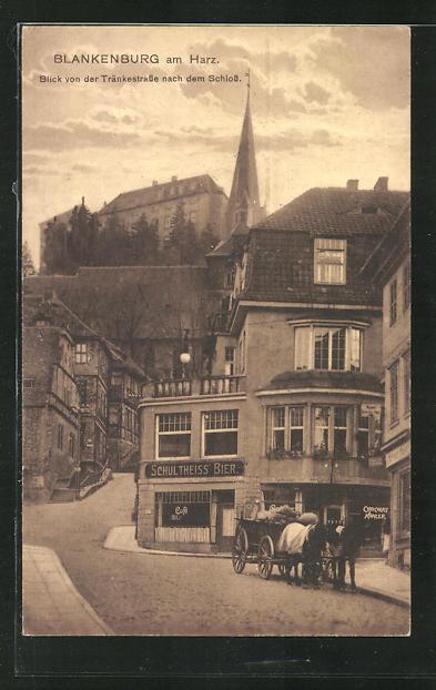 AK Blankenburg / Harz, Blick von der Tränkestrasse nach dem Schloss 0