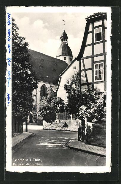 AK Schmölln / Thür., Ortspartie mit Blick zur Kirche 0