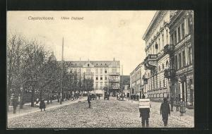 AK Tschenstochau-Czestochowa, Ulica Dojazd, Strassenpartie im Zentrum