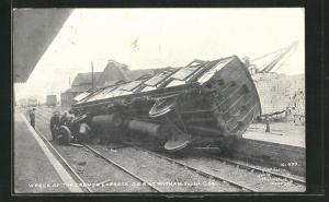 AK Witham, Wreck of the Cromer Express, G E. R., Sep. 1st 1905, Eisenbahnkatastrophe