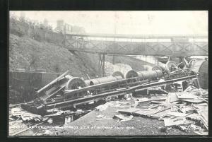 AK Witham, Eisenbahnkatastrophe, Wreck of the Cromer Express, G.E.R., Sep. 1st. 1905