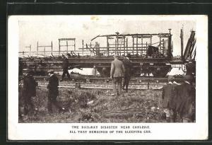 AK Quintinshill, Eisenbahnkatastrophe, Railway Disaster near Carlisle, Remains of the Sleeping Car
