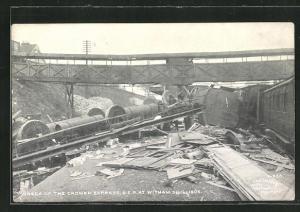 AK Witham, Wreck of the Cromer Express G. E. R 1905, Eisenbahnkatastrophe