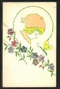 AK Junge mit Mütze, Schmetterling und Blumen, Briefmarkencollage