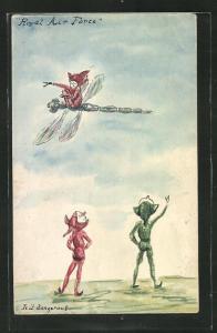 AK Royal Air Force, kleine Elfe fliegt auf Libelle, Briefmarkencollage