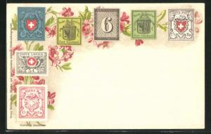 AK Geneve, Briefmarken und Blumen