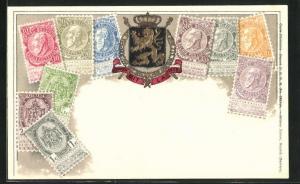 Präge-AK Belgiques, Briefmarken und Wappen