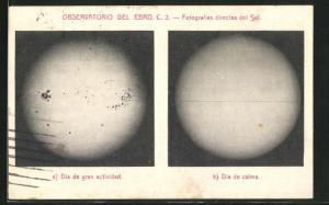 AK Observatorio del Ebro, Fotografias directas del Sol, Dia de gran actividad, Dia de calma, Die Sonne