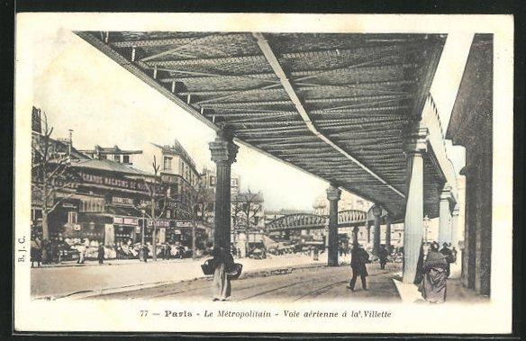 AK Paris, Le Métropolitain, Voie aérienne à la Villette, U-Bahn 0