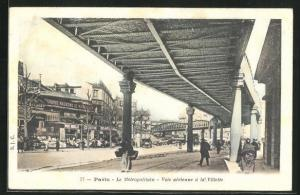 AK Paris, Le Métropolitain, Voie aérienne à la Villette, U-Bahn