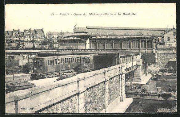 AK Paris, Gare du Métropolitain à la Bastille, U-Bahn-Station an der Bastille 0