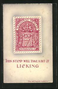 AK This stamp will take a bit of licking, Briefmarken National Health Insurance