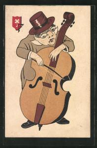Künstler-AK Musiker spielt Cello