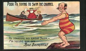 AK Mann im geringelten Badeanzug vor dem Sprung ins Wasser