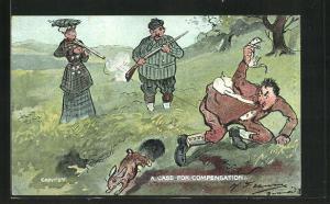 AK Mann wird von einer Jägerin aufs Korn genommen, Jagdhumor